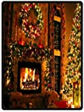 Custom Peaceful Christmas Eve Fireplace 58 inches x 80 inches (Large) soft Fleece Blanket