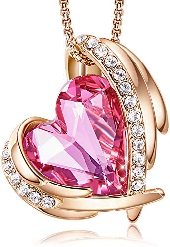 CDE Love Heart Pendant Necklaces for Women Silver Tone Rose Gold Tone Crystals Birthstone Mother's Day Jewelry Gifts for Women Birthday/Anniversary Day/Party