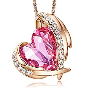 CDE 18K White/Rose Gold Plated Necklaces for Women Valentines Jewelry Gifts Heart Pendants Embellished with Crystals from Swarovski Necklace with Gift Box