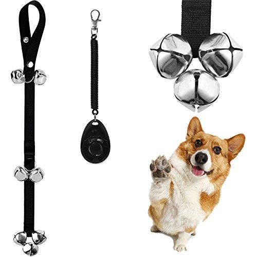ENJOY PET Dog Doorbells Dog Bells for Potty Training Decorative Bells, 7 Premium Extra Large Loud 1.4'' Doorbells for Puppies Training, Includes 1PC Training Clicker Dog Training Ring Bell