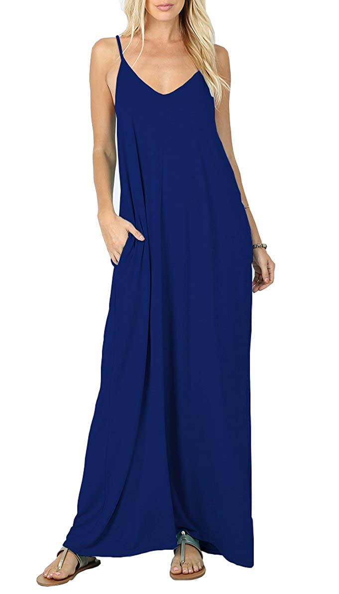 05 Royal bluee Iandroiy Women's Summer Casual Plain Flowy Swimwear Cover Up Loose Beach Cami Maxi Dresses with Pockets