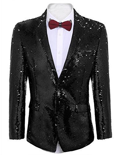 Coofandy Shiny Sequins Suit Jacket Blazer One Button Tuxedo For Party,Wedding,Banquet,Christmas,Nightclub Black ()