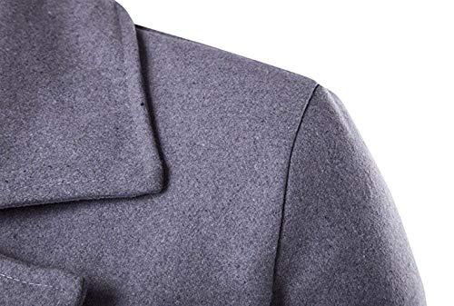Cappotti Cappotti Caban Uomini Uomini Doppiopetto Grau Uomini Cappotti Corrispondenza Cardigan di Bavero d'Affari Parka Unico 6Br6v