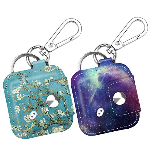[2 Pack] Fintie Tile Mate/Sport/Style Case w/Carabiner Keychain, Anti-Scratch Vegan Leather Protective Skin Cover Fits Tile Mate (2016), Tile Sport, Tile Style Key Finder, Blossom + Galaxy