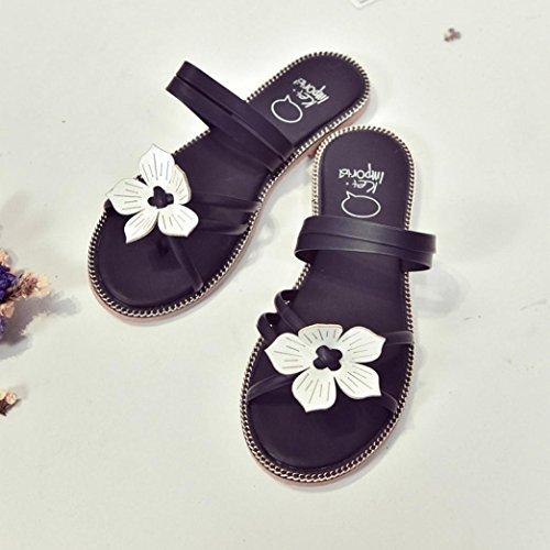 DEESEE(TM) Women Bohemia Summer Flower Weave Sandals Beach Peep-Toe Flip Flops Shoes Black EMhKC