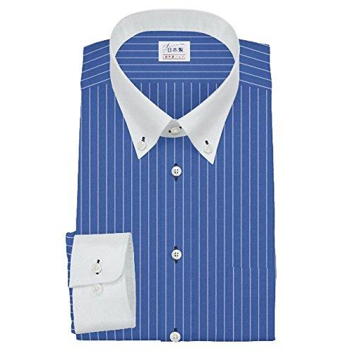 ワイシャツ 軽井沢シャツ [A10KZB058]ボタンダウン クレリックカラー 純綿 ブルー×白ストライプ らくらくオーダー受注生産商品 B06XW4R8M5 首回り:50 裄丈:74|標準型 標準型 首回り:50 裄丈:74