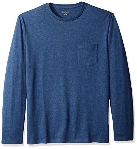 Amazon Essentials Mens Regular-Fit Long-Sleeve Pocket T-Shirt, Blue Heather, X-Large