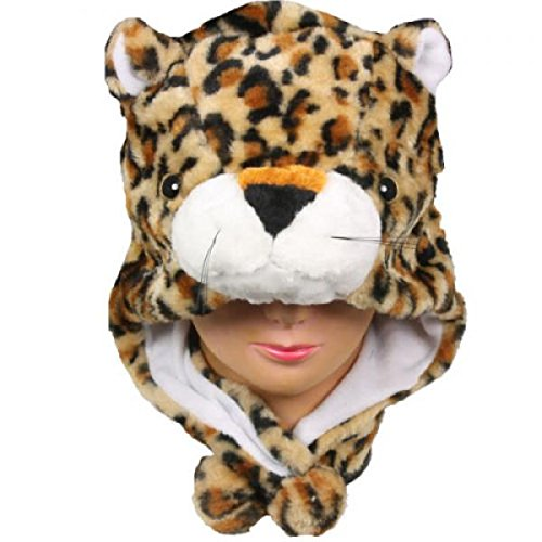 Leopard_New_Warm Cap Earmuff Gift Cartoon Animal Hat Fluffy Plush Cap - Unisex (US Seller) (Dead Prom Queen Halloween Costume)