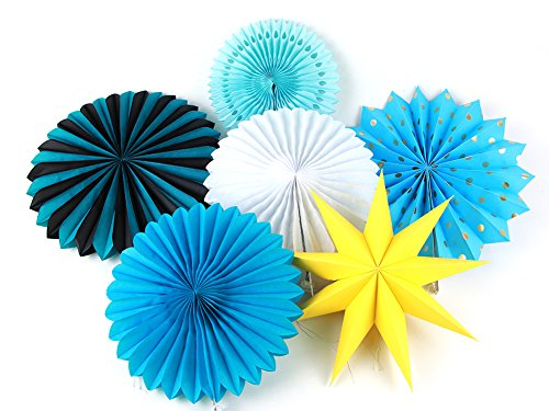 SUNBEAUTY Assorted Color Tissue Paper Pinwheel Fans Collection Hanging Honeycomb Fans Decoration (Blue)