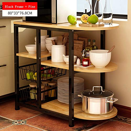 (3-Tier Kitchen Storage Shelf Microwave Oven Stand with 2 Metal Frame Stand Storage Cart Workstation Shelf Black Frame + Pine)