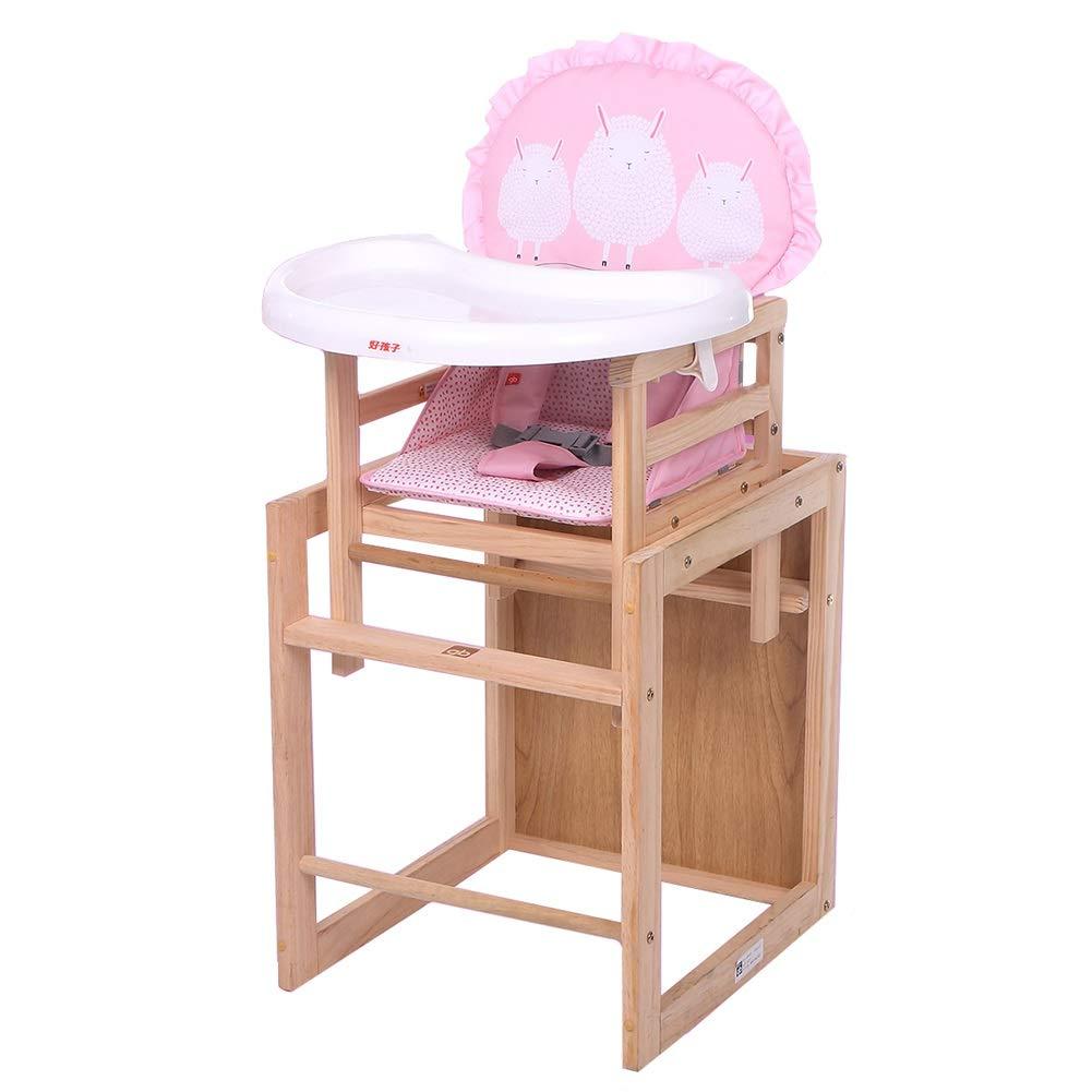 LXLA - 木製コンビネーションハイチェア、ベビー/幼児用、プレイテーブル&クッション付き (色 : Pink)  Pink B07NSXZJ6P