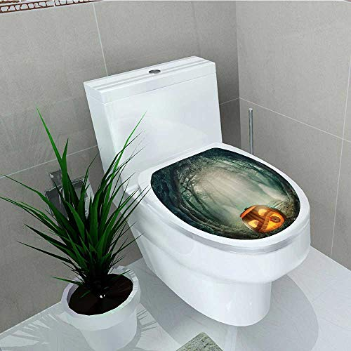 Printsonne Bathroom Removable PVC Scary Halloween Pumpkin in Enchanted Forest Mystic Twilight Party Theme Vinyl Removable Bathroom W8 x -