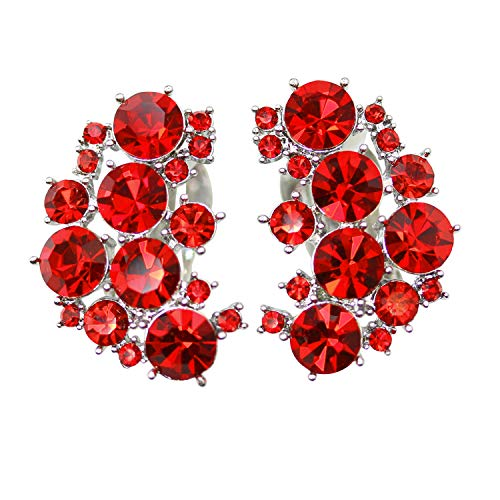 Faship Clip On Earrings Stunning Red Rhinestone Crystal - Red