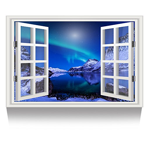 Kreative Arts - Canvas Print Wall Art Window Frame Style Chill Winter Night Landscape Picture Wall Decor Stretched Giclee Print Gallery Wrap Modern for Home Decor (24''x36'', 18.Northern Lights)