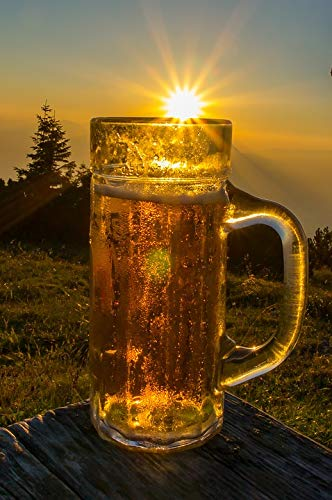 Home Comforts Peel-n-Stick Poster of Sunshine Drink Beer Mountain Hut Mountains Vivid Imagery Poster 24 x 16 Adhesive Sticker Poster - Beer Hut
