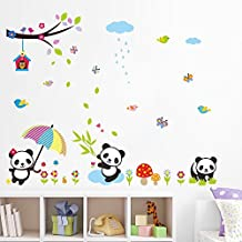 Skyllc® Lovely Panda Birds flowers and Bamboo Wall Stickers Removable Wall Vinly Decal Decor for Girls and Boys Nursery Room Children's Bedroom