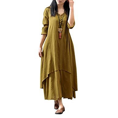 37f199a71d36 Vktech® Womens Peasant Ethnic Boho Cotton Linen Long Maxi Dress Tops Gypsy  Blouse Shirt (