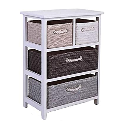 Genial Cypress Shop White 4 Woven Basket Drawers Storage Unit Rack Shelf Chest  Cabinet Organier Nightstand Side