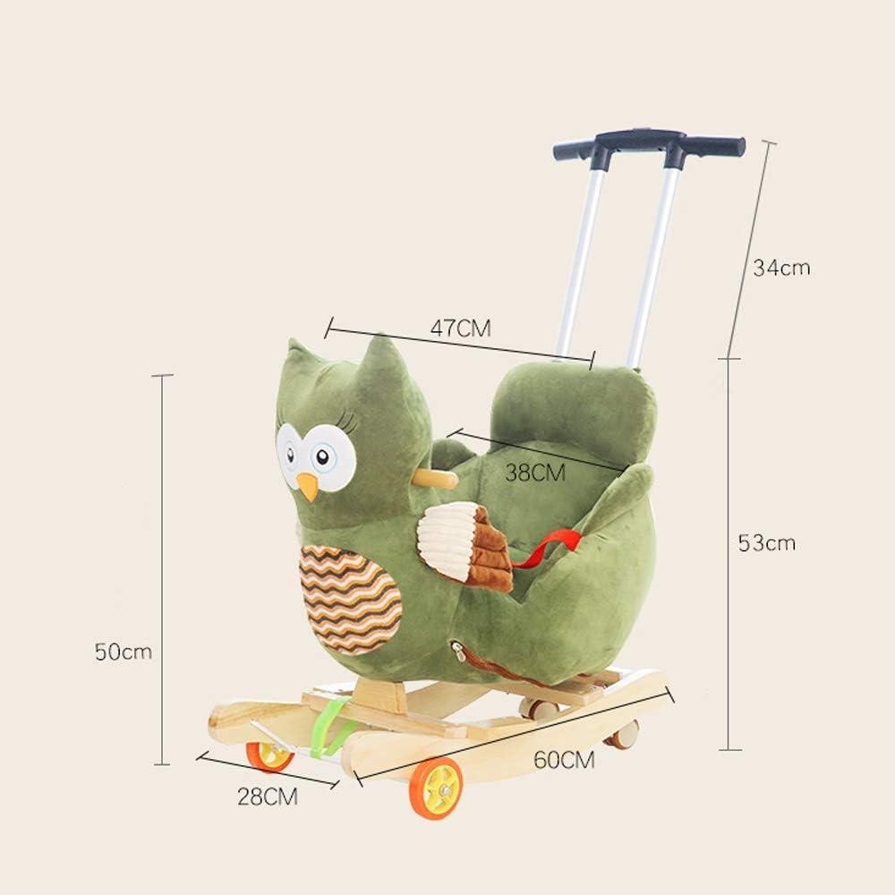 Kibten B/éb/é Enfants Rocking Horse Jouet en bois en peluche chaise ber/çante Cheval enfant en peluche Rocker Owl tour animaux sur jouets /à lint/érieur dext/érieur Rocker animal avec Roues /& Musique /& Ce