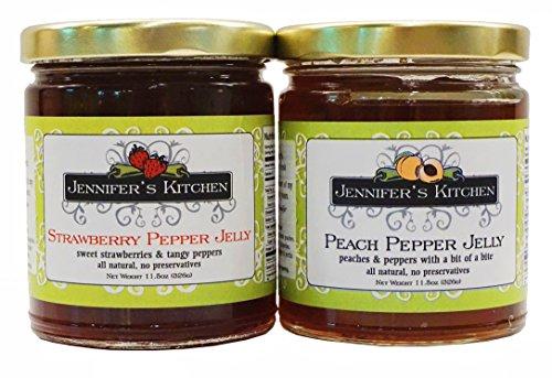 (Jennifer's Kitchen Strawberry & Peach Pepper Jelly (Set of Two Bundle))
