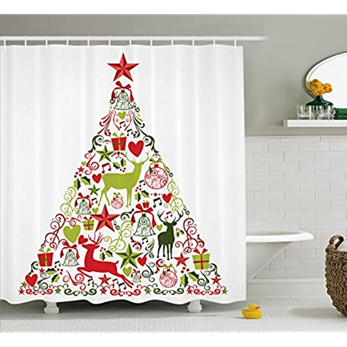 ambesonne christmas decorations collection merry christmas themed house decor popular new year ornaments and star tree topper polyester fabric bathroom