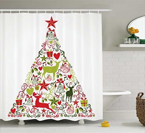 Ambesonne Christmas Decorations Collection, Merry Christmas Themed House Decor Popular New Year Ornaments and Star Tree Topper, Polyester Fabric Bathroom Shower Curtain Set with Hooks, Multi