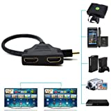 Marketworldcup -1080P HDMI Port Male to 2Female 1 In 2 Out Splitter Cable Adapter Converter Home! USA Seller,, Best Service