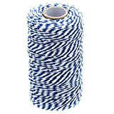 Office Products : 328 Feet Baker's Twine,Cotton Crafts Christmas Holiday Twine,Dark Blue & White String