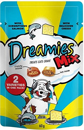 Dreamies Cat Treats Mix with Scrumptious Salmon and Delicious Cheese (60g) Pack of 6