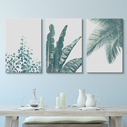 3 Panel Retro Style Green Tropical Leaves x 3 Panels