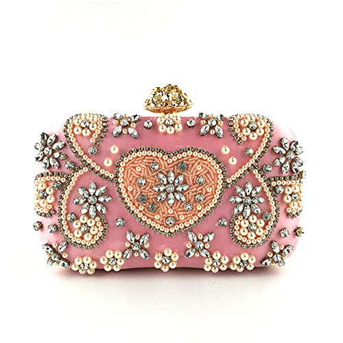 (Marswoodsen Women Evening Bag Crystal Pearl Satin Vintage Clutch Purse Pink Handbag for Wedding)