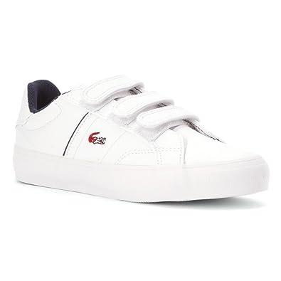 c4a5a63071c4 Lacoste Boy s Kids  Fairlead Sneaker Preschool White Red Lthr ...
