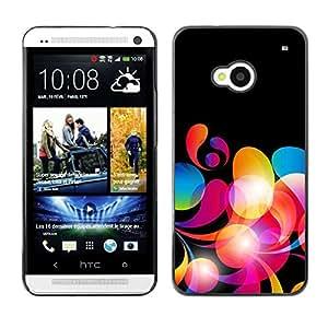 TECHCASE**Cubierta de la caja de protección la piel dura para el ** HTC One M7 ** Neon Colors Wallpaper Random Pattern Red