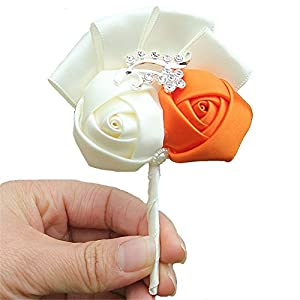 S_SSOY Boutonniere Bridegroom Groom Men's Boutonniere Groomsmen Boutineer with Pin Artificial Corsage Flower for Wedding Homecoming Prom Suit Decor 112