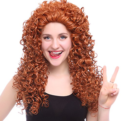Nouqi Brave Movie Disguise Pixar Merida Cosplay Party Hair Wig (Brave Adult Costume)