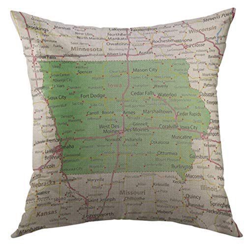 - Mugod Decorative Throw Pillow Cover America Iowa Map Shows State Borders Urban Areas Place Names Roads Highways Projection Mercator Home Decor Pillow Case 18x18 inch