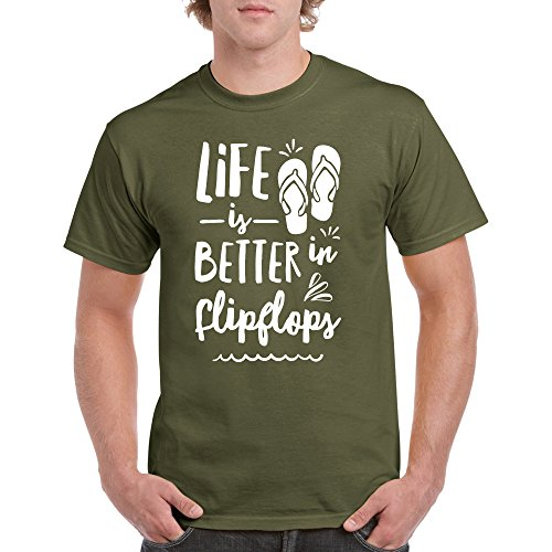 Long Beach Apparel Life Is Better In Flipflops T Shirt White Ink Design Tee
