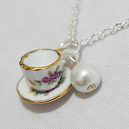 (Tea Cup Necklace, Pearl Necklace, Tiny Pink Tea Cup Set, Cooking Party Jewelry, Coffee Cup)
