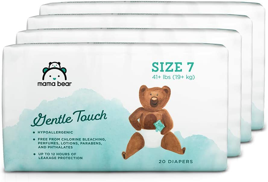 Amazon Brand - Mama Bear Gentle Touch Diapers, Hypoallergenic, Size 7, 80 Count (4 packs of 20)