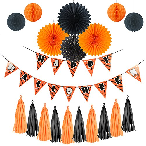 Halloween Decoration Kit Happy Halloween Banner Paper Fans DIY Paper Tassels for Halloween Party Birthday Event Decorations Black Orange SUNBEAUTY 19Pieces (Diy Halloween Decorations For Work)