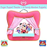 Image of Finger Puppet Theater Stage by Better Line - Set Includes 6 Finger Family Puppets - Portable Plush Finger Puppet Theater is the Best Preschool Kids Toy (Pink Color)