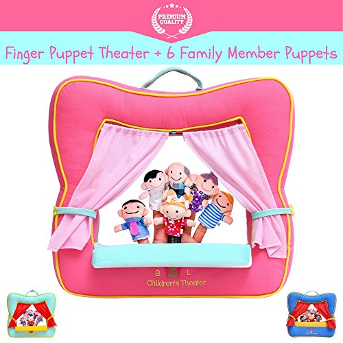 Finger Puppet Theater Stage by Better Line - Set Includes 6 Finger Family Puppets - Portable Plush Finger Puppet Theater is the Best Preschool Kids (pink)
