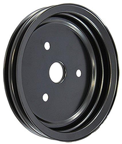 SBC Chevy 283-350 Black Steel SWP Double Groove Crankshaft Pulley - Double Groove Crankshaft Pulley