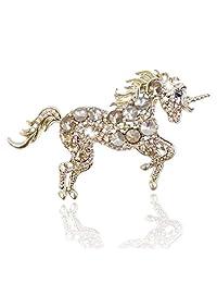 Ever Faith Austrian Crystal Running Unicorn Brooch