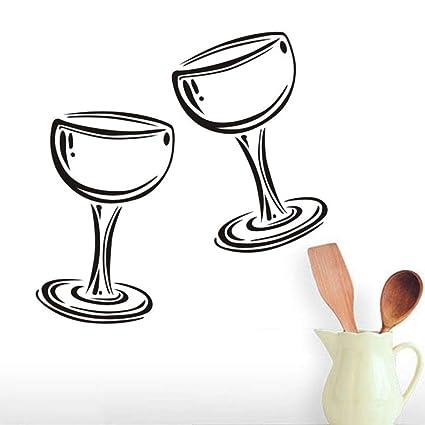 Hlfymx Dos Copas De Vino Champagne Tatuajes De Pared De Vinilo
