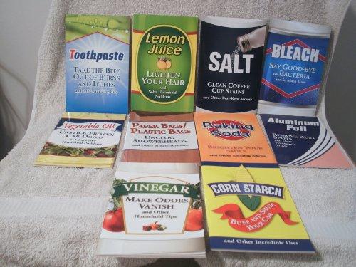 (Set 10 Household Tips w/ Vinegar,Corn Starch,Bleach,Baking Soda, Foil,Oil,Paper Bags,Salt,Lemon Juice,Toothpaste)