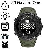 Large Digital Military Quartz Sport Watches for Men Analog Clock LED Wristwatch Green