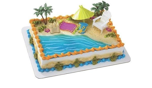 Groovy Amazon Com Beach Birthday Cake Kit Grocery Gourmet Food Funny Birthday Cards Online Necthendildamsfinfo