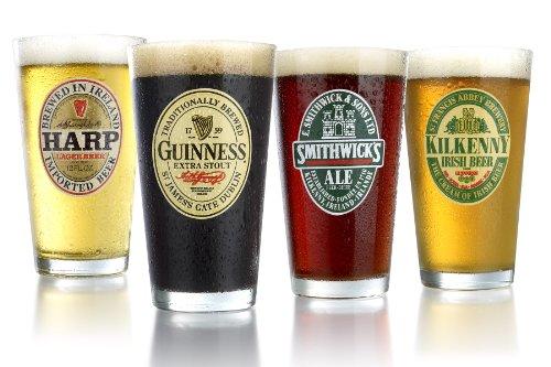 ARC International Luminarc Irish Beer Label Pub Beer Glass, 16oz , Set of 4