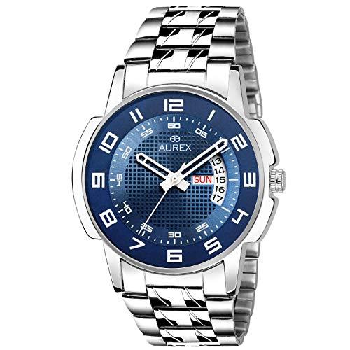 AUREX Analogue Men's Watch (Blue Dial Silver Colored Strap)